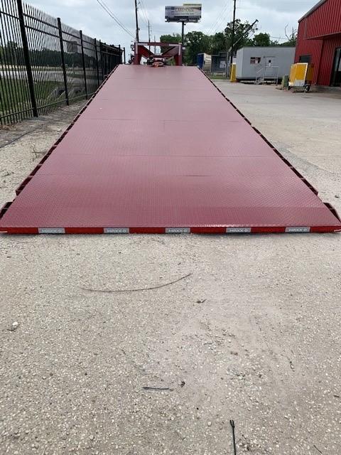 Gooseneck trailer sliding ramp rear view